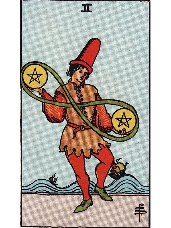 2 of pentacles Rider Waite tarot