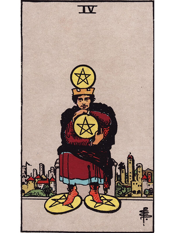 4 of pentacles Rider Waite tarot