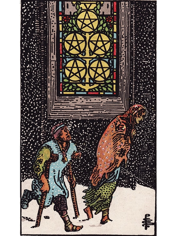 5 of pentacles Rider Waite tarot