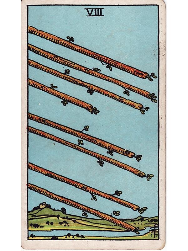 8 of wands Rider Waite tarot