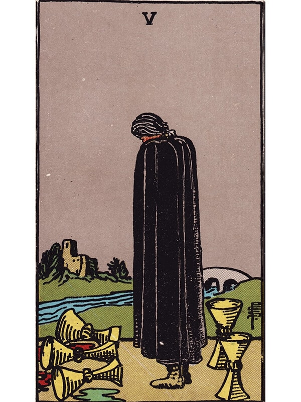 5 of cups Rider Waite tarot