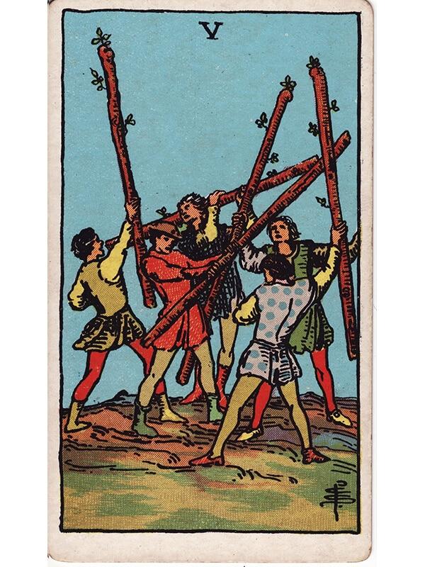 5 of wands Rider Waite tarot