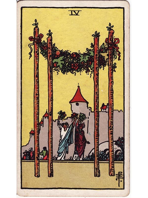 4 of wands Rider Waite tarot