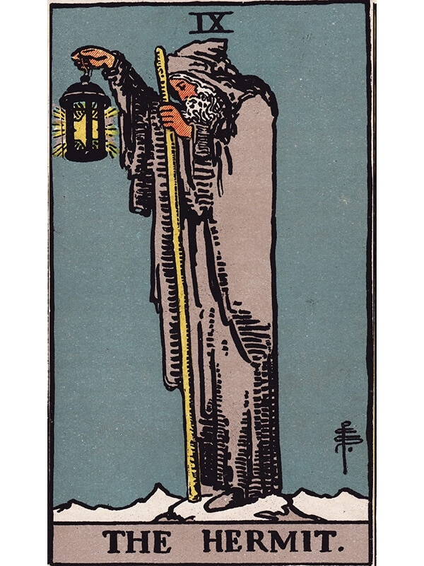 The Hermit tarot card Rider-Waite