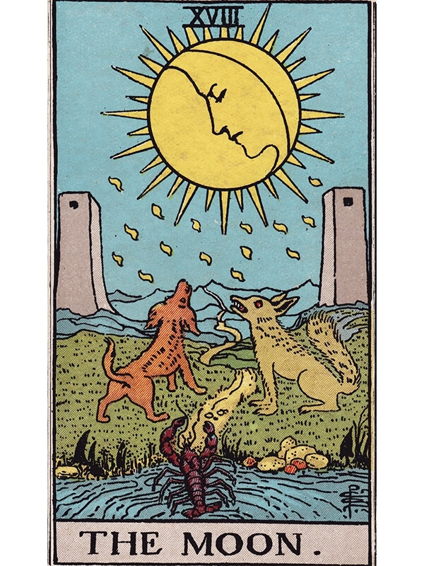 The Moon tarot card Rider-Waite