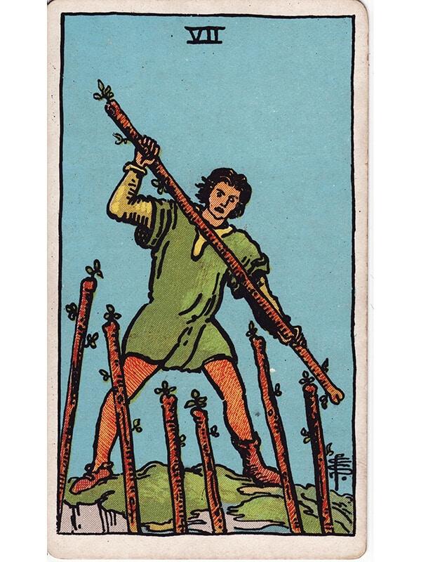 7 of wands Rider Waite tarot