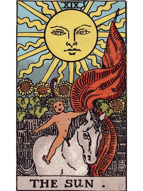 The Sun tarot card Rider-Waite