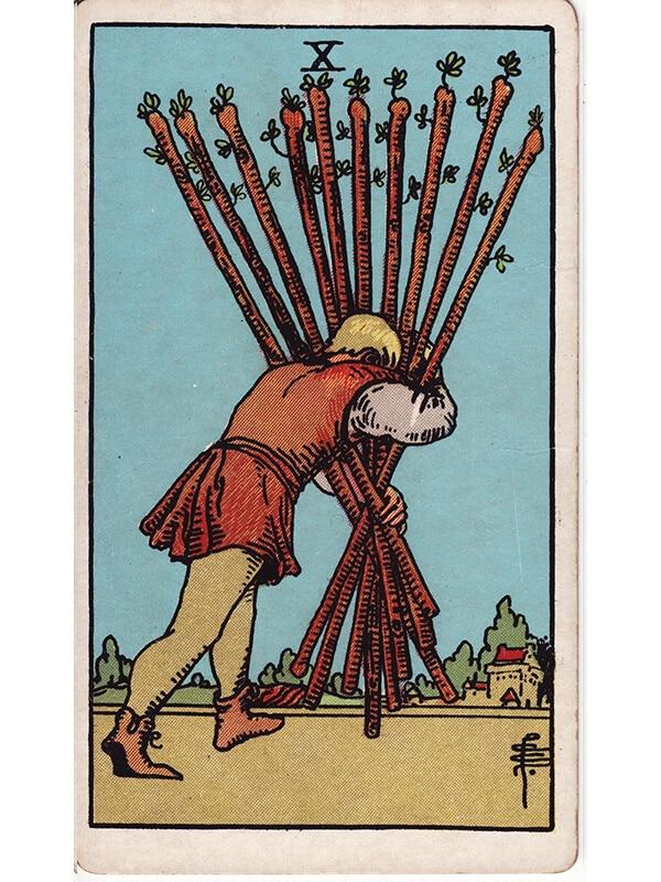 10 of wands Rider Waite tarot