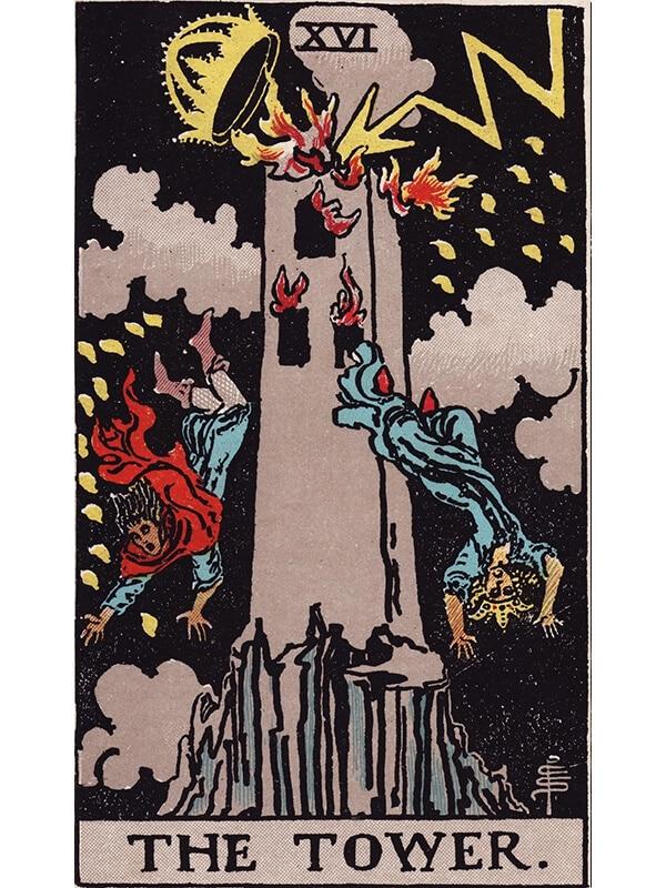 The Tower tarot card Rider-Waite