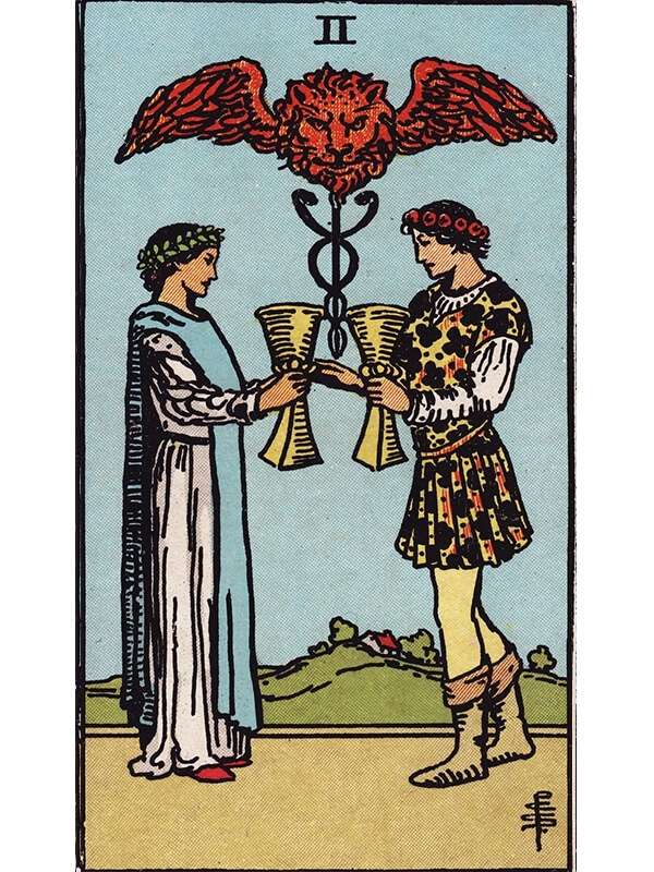 2 of cups Rider Waite tarot