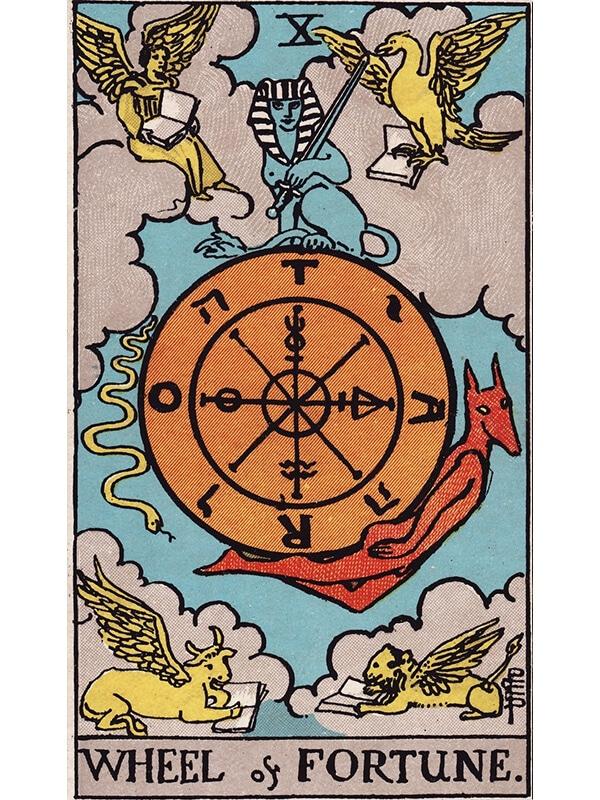 Wheel of Fortune tarot card rider waite