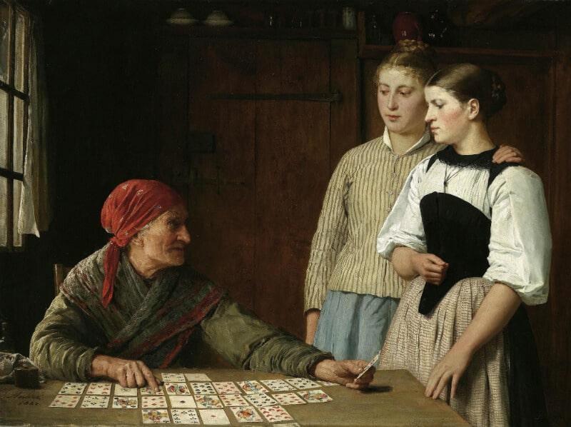 Fortune teller Albert Anker 1880