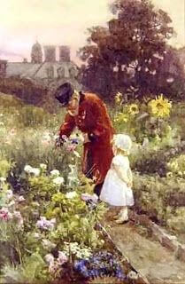 Grandfather and granddaughter in garden - Rose Maynard Barton