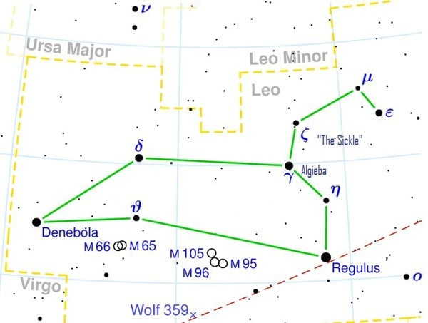Map of the stars in the constellation of Leo