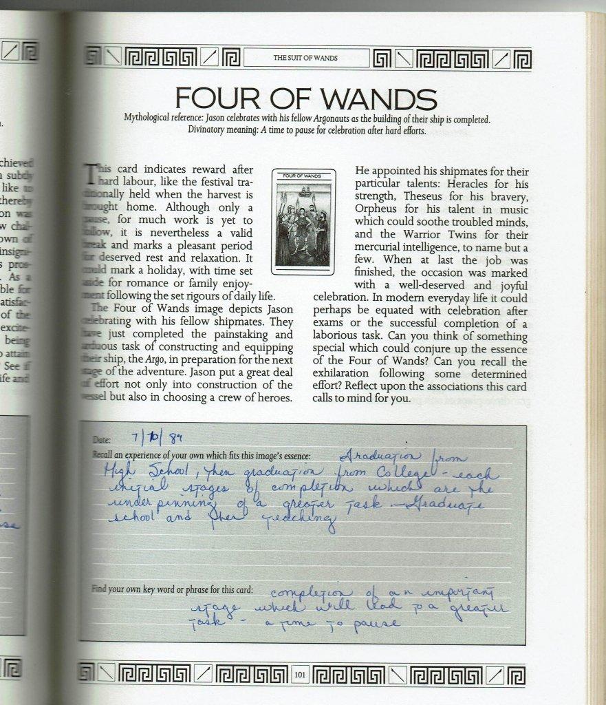 Mythic Tarot Workbook Page