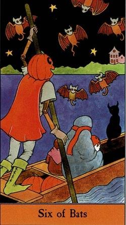 Halloween 6 of Bats tarot card