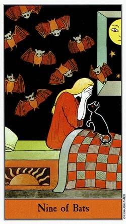 Halloween 9 of Bats tarot card