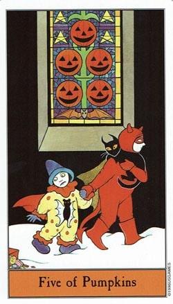 Halloween 5 of Pumpkins tarot card