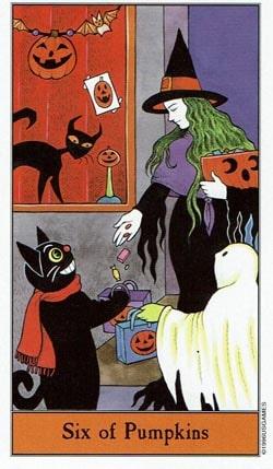 Halloween 6 of Pumpkins tarot card