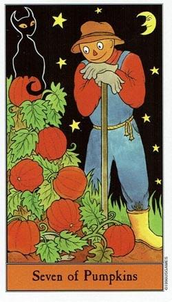 Halloween 7 of Pumpkins tarot card