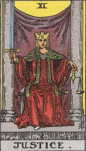 Justice tarot card Rider Waite