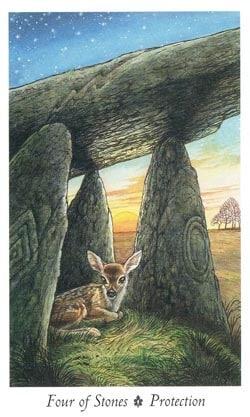 Four of Stones tarot card