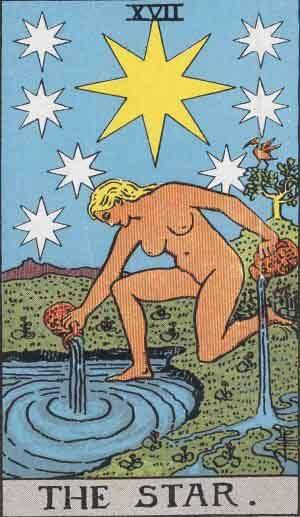 The Star tarot card Rider Waite
