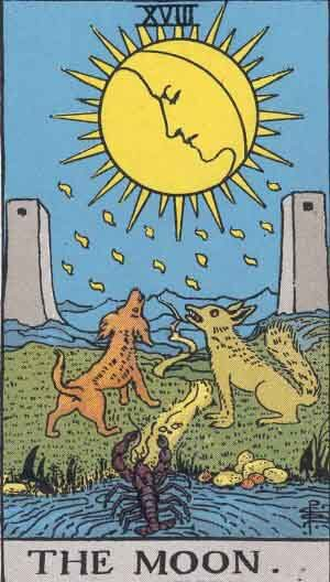 The Moon tarot card Rider Waite