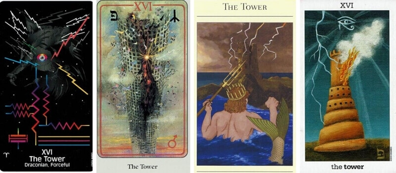 The Tower tarot card in different decks