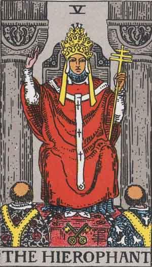 The Hierophant card Rider-Waite Tarot