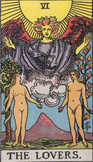 The Lovers card Rider-Waite Tarot