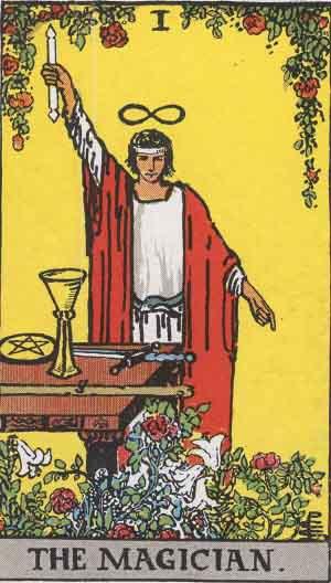 The Magician card Rider-Waite Tarot