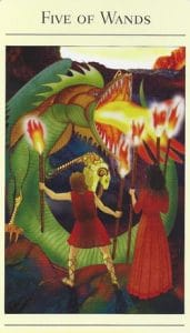 5 of Wands Mythic Tarot
