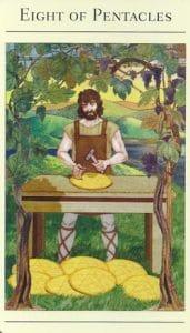 8 of Pentacles Mythic Tarot