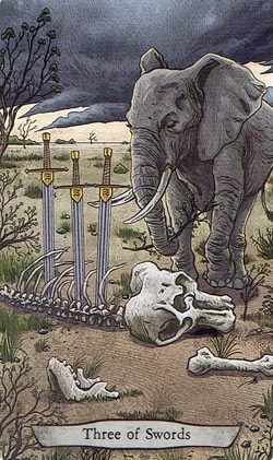 Animal Totem Tarot 3 of Swords Elephant card