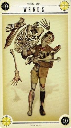 Zombie Tarot 10 of Wands card