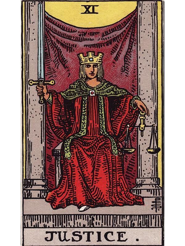 Justice tarot card Rider-Waite